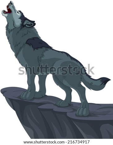 illustration of howling wolf