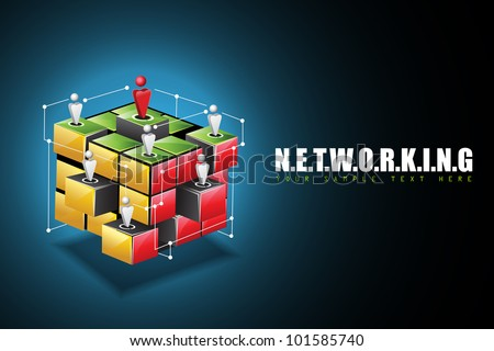 illustration of human connecting with each other on networking background