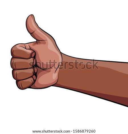 Illustration of Human Hand African Descent Showing Symbol Like. Making a Thumb up Gesture. Like Positive on White Background. Cartoon Retro Thumb up Arm. Ok Like Hand Gesture