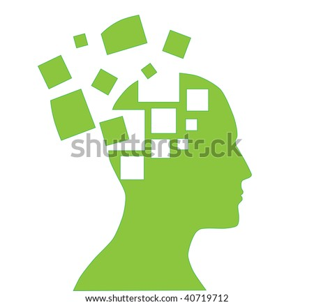 illustration of human head silhouette with puzzle pieces - stock vector