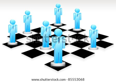 illustration of human icon standing on chess board