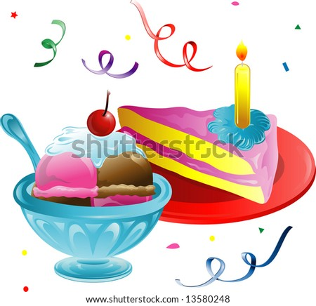 Illustration of ice cream, cake slice and confetti.