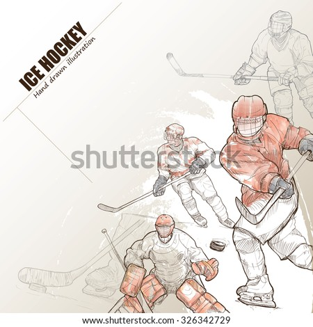 Illustration of ice hockey. hand drawn. ice hockey poster. Sport background.