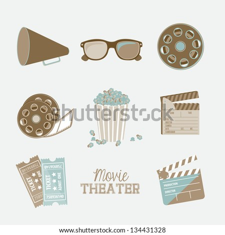 Illustration of icon of cinema, 3D cinema glasses,  director slate, popcorn, tickets, and Film reel, vector illustration