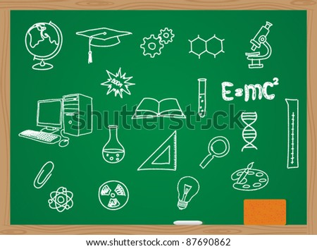illustration of icons on a chemistry theme