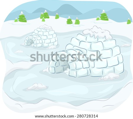 illustration of igloos situated