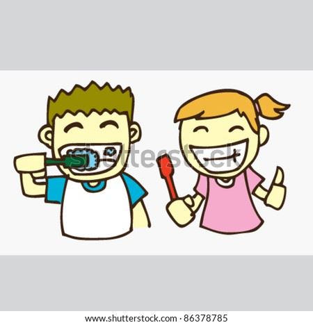 illustration of illustration of a kids brushing teeth