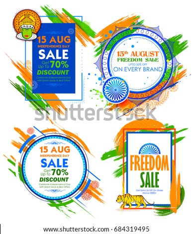illustration of Independence Day of India sale banner with Indian flag tricolor frame