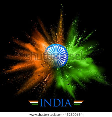 stock-vector-illustration-of-india-background-in-tricolor-and-ashoka-chakra-with-powder-color-explosion