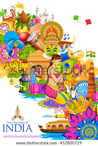 Shutterstock illustration of India background showing its culture and diversity with monument, dance and festival