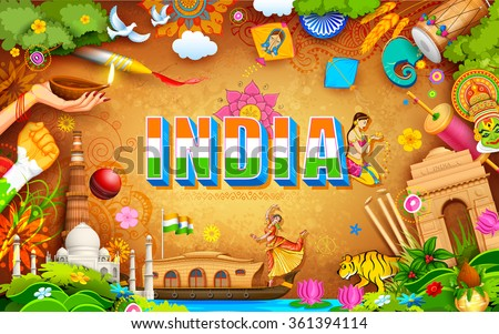 illustration of India background showing its incredible culture