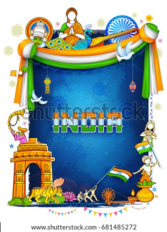 Shutterstock illustration of India background showing its incredible culture and diversity with monument, dance festival