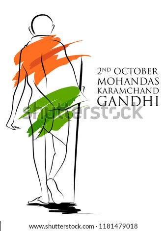 illustration of India background with Nation Hero and Freedom Fighter Mahatma Gandhi for Independence Day or Gandhi Jayanti Foto stock ©