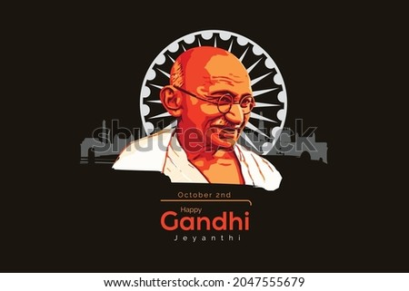 illustration of India background with Nation Hero and Freedom Fighter Mahatma Gandhi for Gandhi Jayanti vector