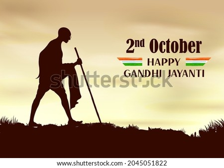 illustration of India background with Nation Hero and Freedom Fighter Mahatma Gandhi popularly known as Bapu for 2nd October Gandhi Jayanti Foto stock ©