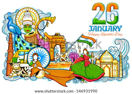 illustration of Indian background showing its incredible culture and diversity with monument, dance and festival celebration for 26th January Republic Day of India