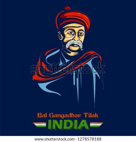 illustration of  Indian background with Nation Hero and Freedom Fighter Bal Gangadhar Tilak Pride of India Foto stock ©