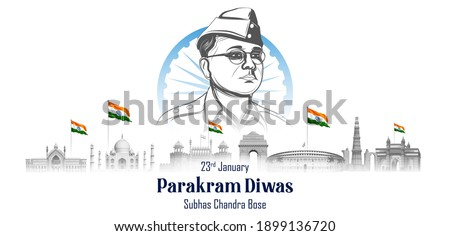 illustration of Indian background with Nation Hero and Freedom Fighter Subhash Chandra Bose Pride of India for 23rd January Сток-фото ©