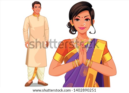 illustration of indian couple