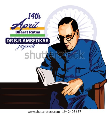 illustration of indian freedom fighter late dr babasaheb ambedkar,14 April Сток-фото ©