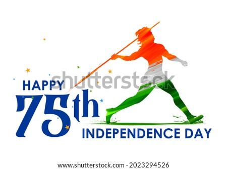 illustration of Indian Javelin Thrower on tricolor banner with Indian flag for 75th Independence Day of India on 15th August Foto stock ©