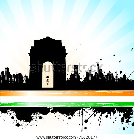 illustration of Indian monument on abstract tricolor background