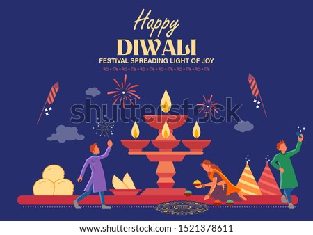 illustration of Indian people celebrating on Happy Diwali Hindu Holiday background for light festival of India