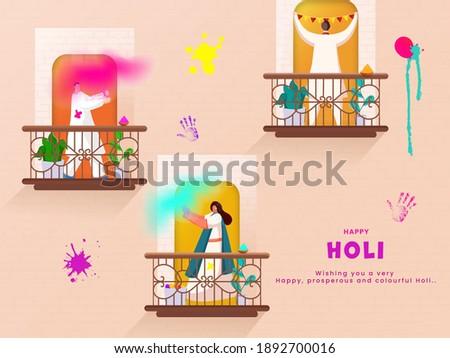 Illustration Of Indian People Enjoying Or Celebrating Holi Festival On Their Balconies. Photo stock ©