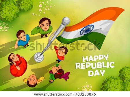 Shutterstock illustration of Indian people saluting flag of India  with pride on Happy Republic Day