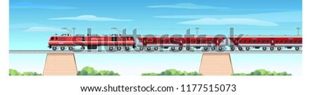 Illustration of Indian Train running on a Bridge
