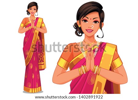 Illustration of Indian women with traditional outfit