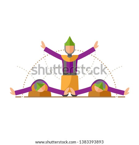 Illustration of Indonesia Traditional Dance from Aceh  Stok fotoğraf ©