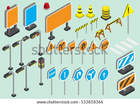 illustration of info graphic traffic signs icons set concept in isometric 3d graphic