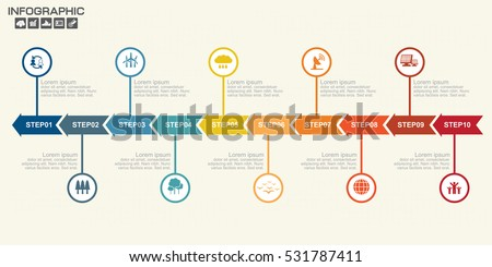 Illustration of  Infographic Timeline Arrows Template Layout With Vector Icons, could be used for website, UI, phone, tablet pc
