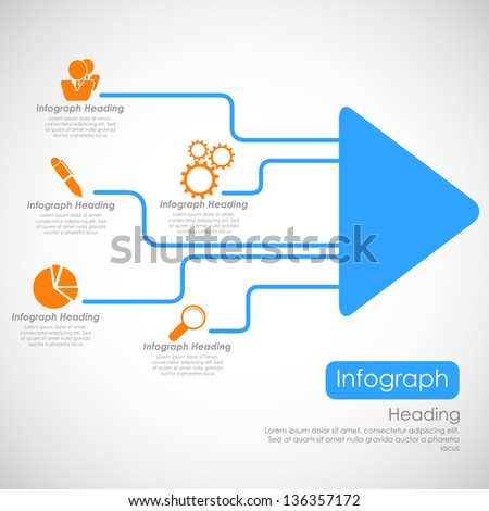 illustration of infographics options with arrow for presentation and promotion