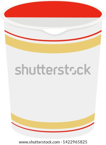 Illustration of Instant noodles.Instant noodles sold at convenience stores.This instant noodles will be completed after 3 minutes with hot water.
