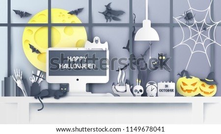 Illustration of Interior design for workplace on Halloween. Decorate the office desk in Halloween. Working on halloween. paper cut and craft style. vector, illustration.