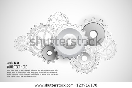 illustration of interlocking cogwheel on sketchy background