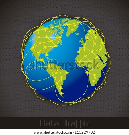 illustration of Internet Data Traffic, lines of communication planet, vector illustration
