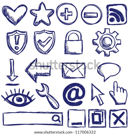 Illustration of internet web icons - hand drawn style