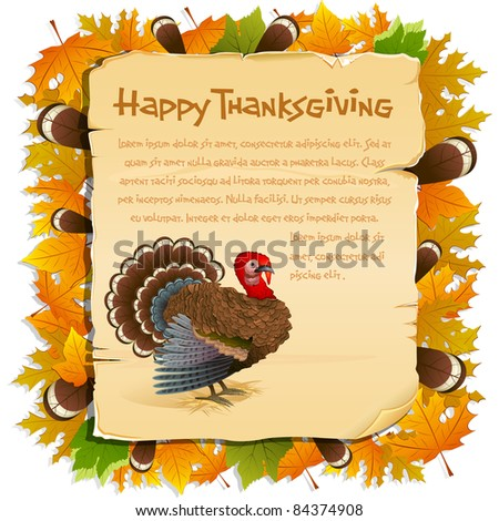 illustration of invitation card for thanksgiving with turkey and maple leaf