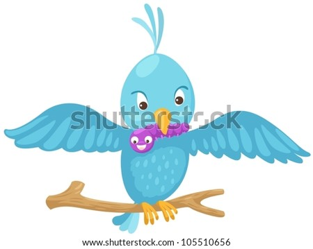 illustration of isolated a blue bird eating worm on branch