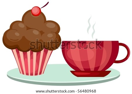illustration  of isolated a cup of coffee and cute cup cake