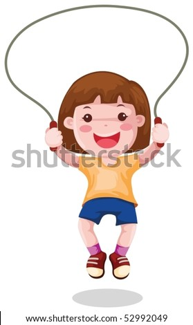 illustration of isolated  a girl  skipping on white background - stock vector