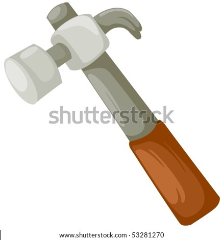 illustration of isolated a hammer on white background