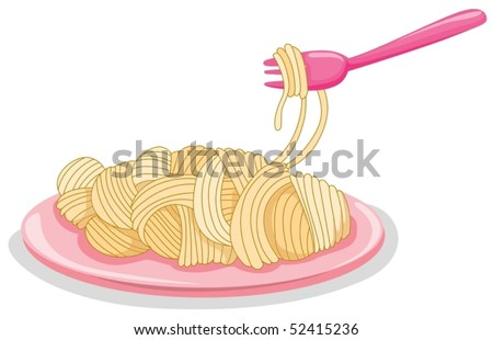 illustration of isolated a plate of uncooked pasta with fork on white
