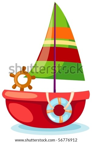 illustration of isolated a sailboat gliding on white