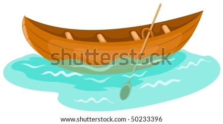 illustration of isolated a wooden canoe on white background