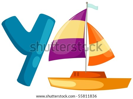 illustration of isolated  alphabet Y with yacht on white