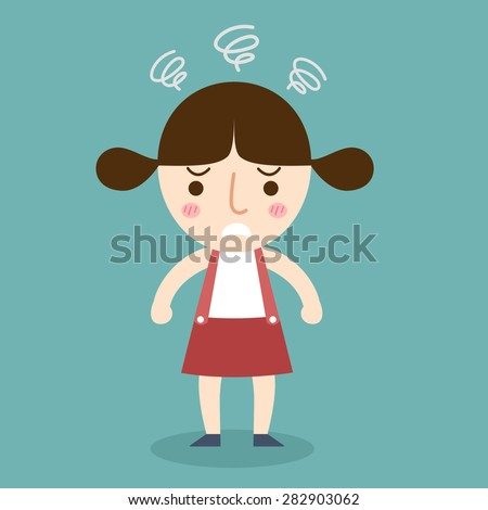 illustration of isolated angry girl vector